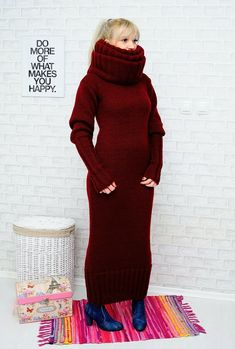 Hand Knitted Mohair, Angora and Wool Sweaters! Hand Knitted Angora Dress with Hu-u-u-ge Tneck. Sleeve length from the neck: / 95 cm. Fluffy Sweater, Mohair Sweater, Cardigan Sweaters, Long Cardigan, Sweater Fashion, Sweater Outfits, Women's Fashion, Sweater Dresses, Thick Sweaters
