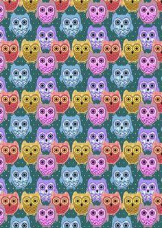 Owls on green polka dot background