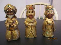 Vintage Set of 3 Wise Men Figurines - Christmas - Holiday - Nativity Set - Cute