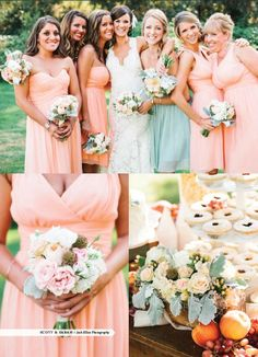 55e8bf3f10 Cute MOH has different color dress Always love a  PeachFuzz wedding!   DonnaMorganCollection