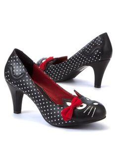 MEOW!!!! :D  Black (Black) TUK Black Polka Dot Cat Bow Mid Court Shoes   275303801   New Look