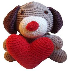 Amigurumi Jeff the Valentine Dog by @FreshStitches | via I Heart Toys - A LOVE Round Up by @beckastreasures | #crochet #pattern #hearts #kisses #valentines #love