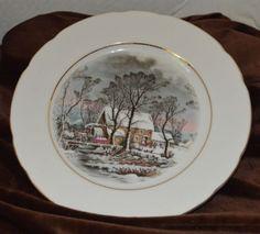 Avon-Winter-Grist-Decorative-or-Dessert-Plate-Dish-1977