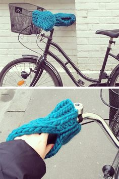 Free Knitting Pattern for Bike Mittens - Pattern for mittens that fit over bicycle handlebars with an opening to slip your hands into. Although the pattern is only in French, I could easily follow it with in-browser translation and the designer's photos. Designed by Charlotte L. Super Bulky weight yarn.