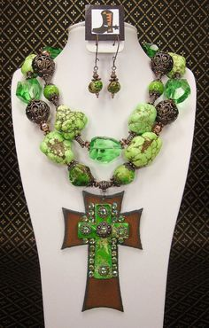 GREEN CHUNKY WESTERN Cowgirl Necklace Set  by CayaCowgirlCreations, $65.00