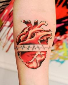 Red heart with pulse tattoo on arm - Tattooimages.biz Rabiscos dd782905f9e