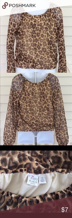 Girls Brown Animal Print Blouse Sz 5/6 by Children's Place. Very cute! Torso is lined, arms are sheer. Great pre owned condition. No flaws. Children's Place Shirts & Tops Blouses