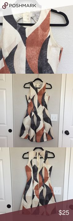H&M dress NWOT Fun multi print with sexy back! Never worn! Pockets. Lined.  Exposed back zipper worth cutouts.  Pleated skirt. Fitted top. Flare or Aline bottom.  Size 6; polyester (weighty, textured feel) H&M Dresses