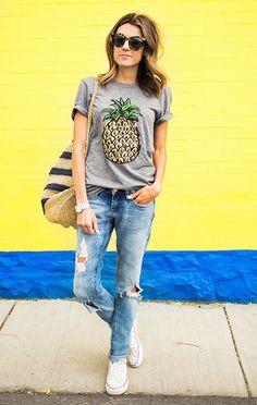 Scoop Fruit Flower Print Slim Fashion T-shirt