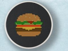Hamburger Food Cross Stitch Pattern PDF File by andwabisabi, $2.50