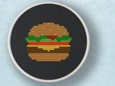 Hamburger Food Cross Stitch Pattern PDF File by andwabisabi, $2.50
