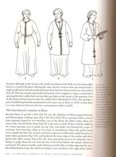 Women's clothing styles (from Penelope Walton Rogers, Cloth and Clothing in Anglo-Saxon England)