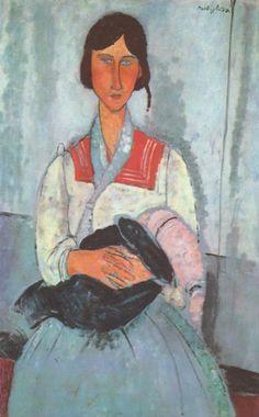 #Zingara #con #bambino è un dipinto ad olio su tela di cm 115,9 x 73 realizzato nel 1919 del pittore italiano #Amedeo #Modigliani.