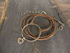 Organic large. silver circle. Wrap leather karma by BeadStonenSkin