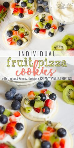 Fruit Pizza Cookies are all the deliciousness you get in a traditional fruit pizza recipe just individual sized Soft sugar cookie crust topped with a sweet creamy frostin. Fruit Pizza Cookies, Sugar Cookie Pizza, Strawberry Pizza, Fruit Pizza Frosting, Fruit Pizza Bar, Easy Fruit Pizza, Cookie Crust, Fruit Pizzas, Pizza Snacks