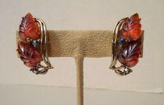 Vintage Iridescent Frosted Orange/Amber Leaf Design Clip Earrings W/Rhinestones #Star #Cuff