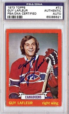 Guy LaFleur Autographed 1973 Topps Card PSA/DNA Slabbed #65088621 . $79.00. This is a hand signed Guy LaFleur 1973 Topps Card. This item has been authenticated and slabbed by PSA/DNA.