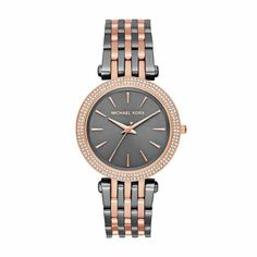 Sale Darci Two-Tone Three-Hand Watch A rose gold-tone case and gunmetal sunray dial trimmed in pave crystals adds feminine sparkle to the glamorous two-tone Michael Kors Darci watch. Daniel Wellington, Emporio Armani, Grey Roses, Hand Watch, Watch Sale, Stainless Steel Bracelet, Michael Kors Watch, Bracelet Watch, Ladies Bracelet