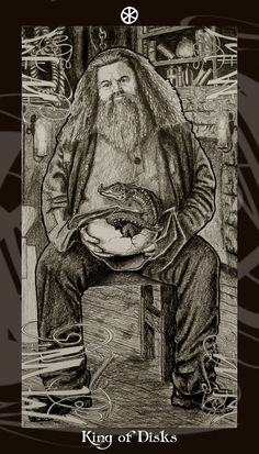 HP Tarot - King of Disks by Ellygator.deviantart.com - Fitting that Hagrid would be Manley's card in the Harry Potter deck
