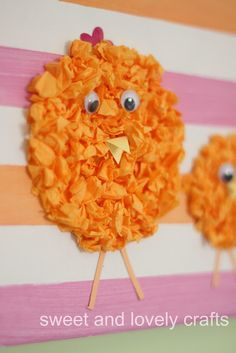 Tissue paper Easter chicks for Easter