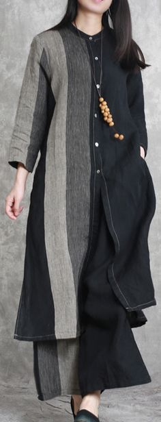 black linen two pieces asymmetric shirt and wide leg pants – Linen Dresses For Women Abaya Fashion, Modest Fashion, Fashion Outfits, Simple Outfits, Cool Outfits, Kurta Designs, Wide Leg Pants, Wide Legs, Mode Hijab