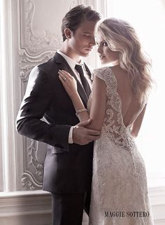 We're swooning over this delicate beaded sheath wedding dress, Elison, from Maggie Sottero's Spring 2015 collection.