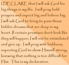"""Day 28 ~ I DECLARE that I will ask God for big things in my life. """"I Declare; 31 Promises to Speak Over Your Life"""" by Joel Osteen Joel Osteen, Bible Quotes, Bible Verses, Godly Quotes, Speak Life, Gods Promises, Words Of Encouragement, Spiritual Encouragement, Christian Quotes"""