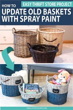 What a great wicker basket makeover! It's amazing what you can do with a bit of spray paint! Have you tried painting wicker baskets before? Learn how to paint thrift store baskets to look like expensive dip-dyed baskets for a fraction of the price. Spray Painted Baskets, Spray Paint Wicker, Painted Wicker, Spray Paint Crafts, Spray Paint Projects, Diy Craft Projects, Diy Crafts, Old Baskets, Wicker Baskets