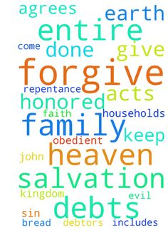"""Lord's Prayer (Household Salvation) - Father in Heaven, Your Name be Honored, Your Kingdom Come, Your Will be Done, on earth as in heaven. Give us daily bread, forgive our debts, forgive our debtors, keep us from sin and evil. I ask this for my myself, my family, for whomever agrees and for their entire family (""""Forgive us our debts"""" includes requesting for the salvation of our entire households [repentance and obedient faith] -- John 4:54, Acts 16:31-32, 1 Cor 1:16 & etc), in Jesus Name…"""