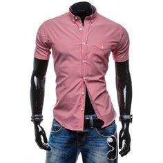 Štýlová červená košeľa s kockovaným vzorom za skvelú cenu - fashionday.eu Leather Jacket, Shirt Dress, Fit, Mens Tops, Jackets, Shirts, Dresses, Fashion, Studded Leather Jacket