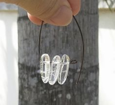 Clear Quartz Bar Antique Bronze Wire Wrap Gemstone Earrings