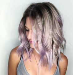 30 Brand New Ultra Trendy Purple Balayage Hair Color Ideas - Part 22 White Ombre Hair, Hair Color Purple, Pastel Ombre Hair, Subtle Purple Hair, Pastel Hair Tips, Blonde Hair With Purple Tips, Light Purple Hair, Ombre Brown, Colored Hair Tips
