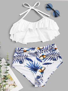 Shop Tiered Layer Top With Random Tropical Ruched Bikini online. SHEIN offers Tiered Layer Top With Random Tropical Ruched Bikini & more to fit your fashionable needs. Trendy Bikinis, Bikinis For Sale, Cute Bikinis, Bikini Swimwear, Sporty Swimwear, Retro Swimwear, Flounce Bikini, Summer Swimwear, Summer Bikinis
