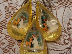 Vintage Jewel Brite Teardrop Ornaments - Three (3) Jewelbrite Christmas Ornaments  -  15-594 by BubbiesMemories on Etsy