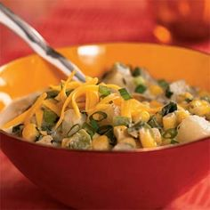 Corn and Potato Chowder | MyRecipes.com #myplate #vegetables #protein