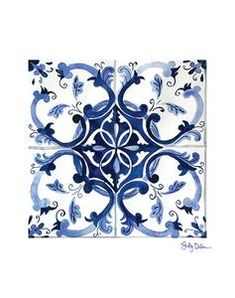 Mexican Tile Print, Moroccan Tile Art, Talavera Tile Drawing, Blue Tile Wall Art, Talavera Home Decor Tuile, Image Painting, Blue Tiles, White Tiles, Portuguese Tiles, Tile Art, Tile Patterns, Tile Design, Etsy
