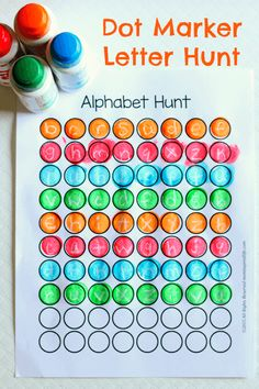 Use dot markers to search for hidden letters. This preschool crayon resist alphabet hunt is sure to be hit!