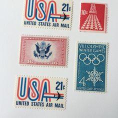 Patriotic #vintagestamps for July 4th mail // @ofnotestationers