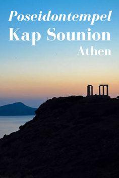 Der Poseidontempel am Kap Sounion befindet sich ca. 2 Stunden von Athen entfernt. Ein perfekter Ort für romantische Reisefotos im Sonnenuntergang.