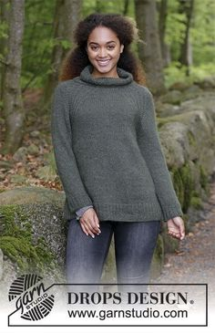Knitted sweater with raglan, high collar and A-shape, knitted top down. Size: S - XXXL Piece is knitted in 1 strand DROPS Alpaca and 1 strand DROPS Kid-Silk.