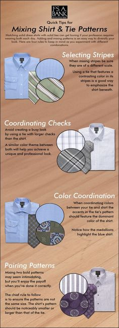 Is your wardrobe more shirt & tie than suit & tie? Here are a few tips on common shirt and tie pattern combinations.: