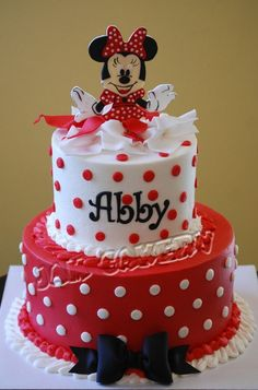 minnie mouse cake.  Maybe if we did pink, we could use one of her little plastic toys on top.  Super easy.