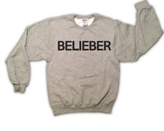 Belieber 026OX Justin Bieber Gray Sweatshirt x by TopBananaPhilly, $25.00