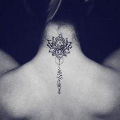 Tattoo for women: ideas for finding the perfect tattoo diy tattoo images - tattoo images drawings - Lotusblume Tattoo, Piercing Tattoo, Back Tattoo, Back Neck Tattoos, Tattoo On Neck, Flower Neck Tattoo, Back Of Neck Tattoos For Women, Tattoo Spine, Tongue Tattoo