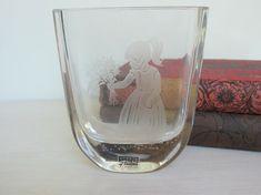 Vintage Signed Little Girl With Flowers Glass Vase by SEA Glassworks Glasbruks of Sweden via Etsy $24