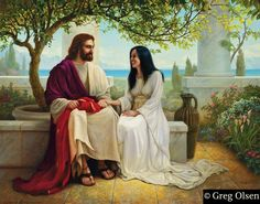 White As Snow Greg Olsen .the woman at the well.with Jesus at the well. Lds Pictures, Pictures Of Jesus Christ, Jesus Love Images, Jesus And Mary Pictures, Greg Olsen Art, Arte Lds, Mary Magdalene And Jesus, Jesus E Maria, Lds Art
