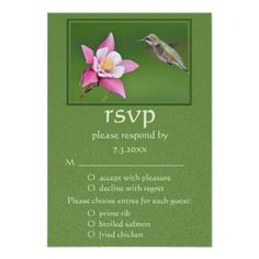 Pink Winky Rose Hummingbird Country Wedding RSVP Invitations