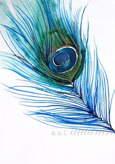 Feather+Watercolor++Peacock+Feather+I++Bird+Painting++by+MaiAutumn,+$42.00