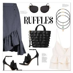 """""""RUFFLES"""" by mycherryblossom ❤ liked on Polyvore featuring MANGO, Michael Kors and Jimmy Choo"""