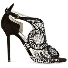 Sergio Rossi Black and White Suede and Swarovski Crystal Macro Lace... ($1,695) ❤ liked on Polyvore